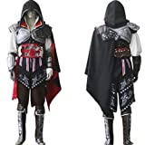 Assassins-Creed-2-II-Ezio-Cosplay-Kostm-Halloween-Schwarz-VersionGre-S155-160cm40-45kg