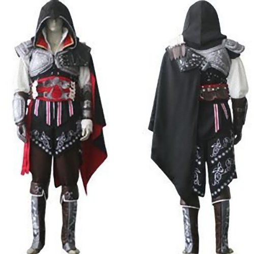 Assassin's Creed 2 II Ezio Cosplay Kostüm Halloween , Schwarz Version,Größe S(155-160cm,40-45kg)