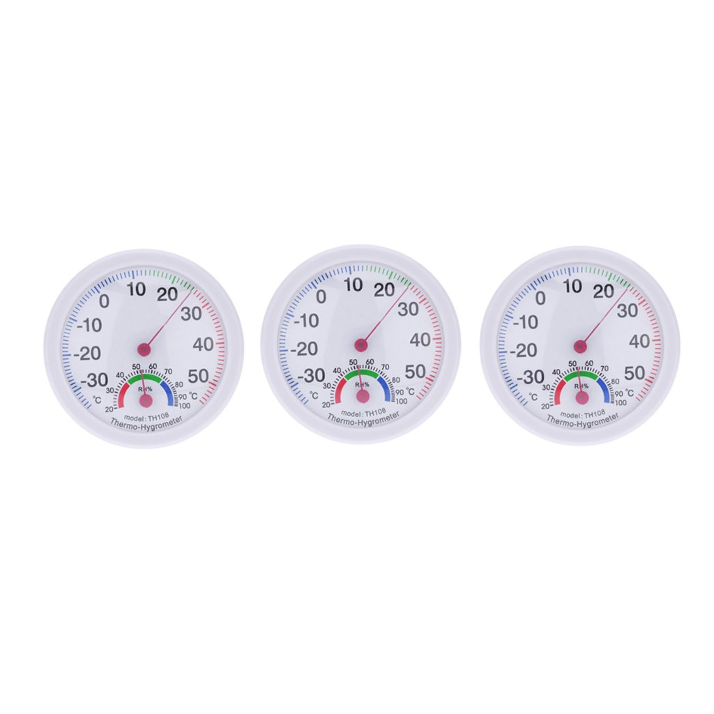 MagiDeal 3pcs/Set Clock Shape Analog Temperature Humidity Meter Thermometer Hygrometer non-brand