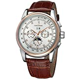 Forsining Men's Automatic Self winding Moon Phase Watch with Brown Leather Strap Analogue Display FSG319M3T4