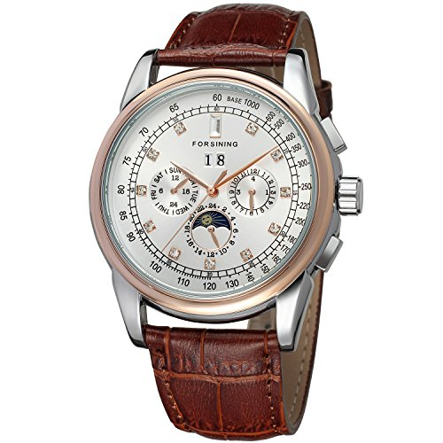 Forsining Men's Automatic Self winding Moon Phase Watch with Brown Leather Strap Analogue Display FSG319M3T4 - Mens Automatic Self Winding Watch