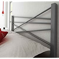 Amisco Crosston Metal Headboard Only, Queen Size 60, Magnetite/Glossy Grey