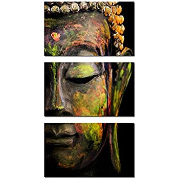 Kreative Arts - Modern Buddha Head Portrait Painting Printed On Canvas Religion Wall Art Triptych Canvas Painting Home Decoration Wall Murals Ready to Hang