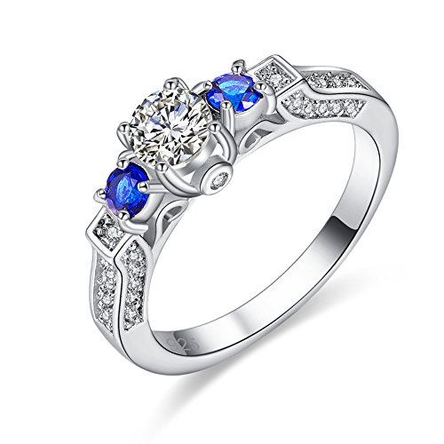 Veunora 925 Sterling Silver Created 5x5mm White Topaz and Sapphire Quartz Filled Engagement Ring Band Size 6
