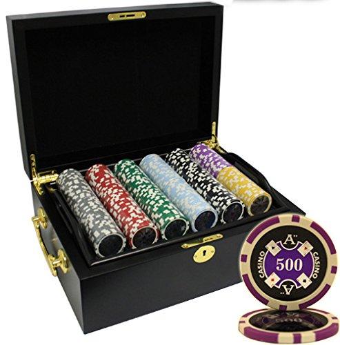 MRC 500pcs Ace Casino Laser Poker Chips Set with Wood Case by Mrc Poker