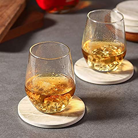 LIFVER Drink Coasters 6 Pieces Ceramic, Absorbent Coasters for Drinks ,Stone Style Coaster Set with Cork Base for Wooden…
