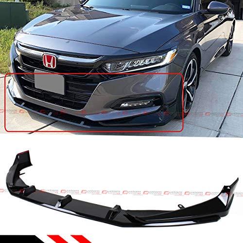 Fits for 2018-2019 Honda Accord Akasaka 5 Pieces Design Painted Glossy Black Front Bumper Splitter Lip Spoiler Kit
