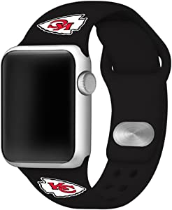 GAME TIME Kansas City Chiefs Silicone Sport Watch Band Compatible with Apple Watch- 38/40mm (Black)