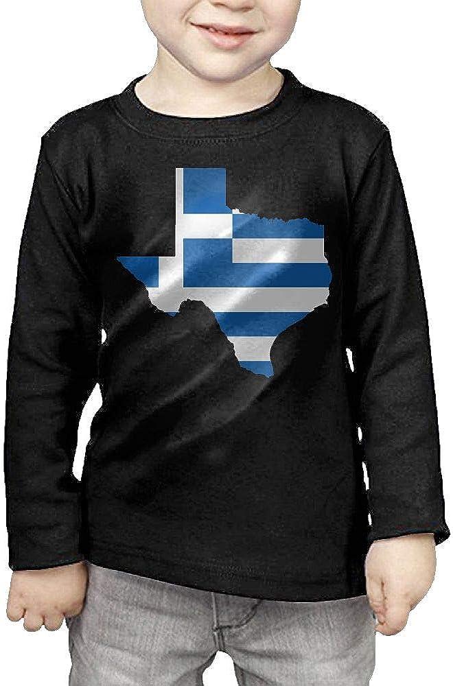 CERTONGCXTS Baby Boys Kids Greece Flag Texas Map ComfortSoft Long Sleeve Shirt