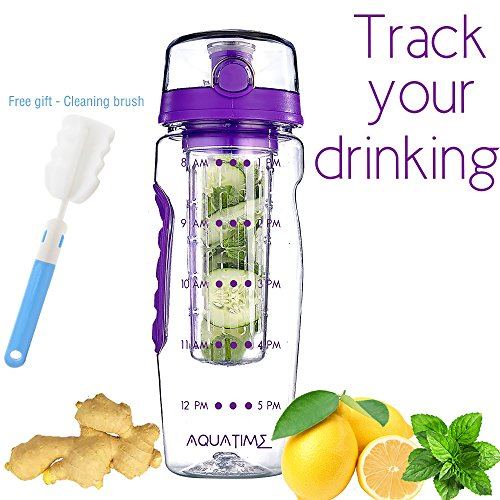 Time Marked Fruit Infuser Water Bottle AQUATIME Large 32 oz – Free Brush For Easy Clean – Convenient To Carry - Leak Proof - FDA Approval BPA Free & Eco – Friendly Tritan Copolyester Plastic (32oz To Cups)