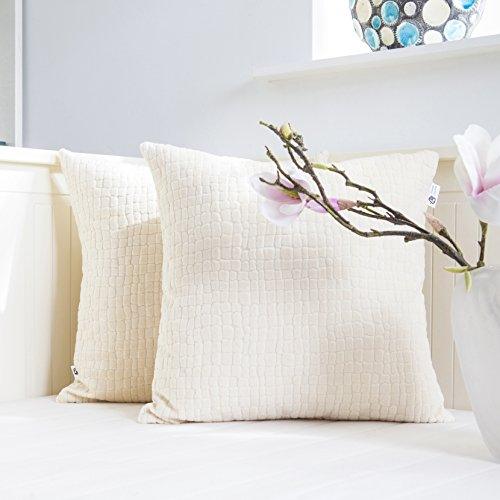 Kevin Textile Decor Decorative Solid Luxury Square Corduroy Velvet Throw Pillow Case Sham Plush Pillow Cover Decoration Cushion Cover for Bed, 2 Pieces, Light Apricot