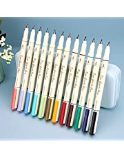 Writech Arts Sign Brush Pen Brush Tip Marker Felt Tip Water Based Ink Color Pens 12 Assorted Colors Great for Lettering, Journaling, Calligraphy