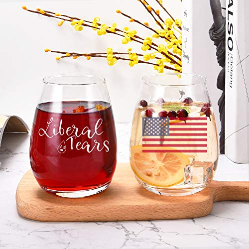 Wine Glasses - Liberal Tears Wine Glass with American Flag - Patriotic Funny Stemless Wine Glass for US Independence Day - Patriotic Themed Glass - American Patriot Gifts for mom dad husband wife