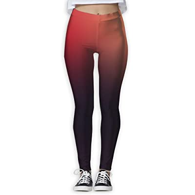 XDDFRTFF Women's Full-Length Yoga Pants 3D Printed Gradient Color Red Workout Leggings