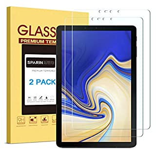[2 Pack] Galaxy Tab S4 Screen Protector, SPARIN Tempered Glass, S Pen Compatible, Easy Install, Scratch Resistant Screen Protector for Samsung Galaxy Tab S4, 10.5 inch