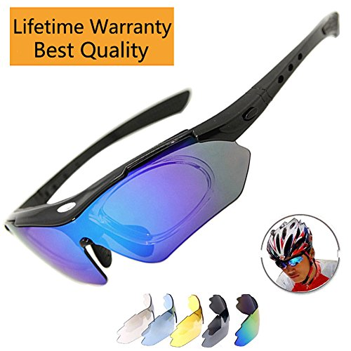 Sports Sunglasses Polarized Cycling Glass Baseball Running Fishing Driving Golf Hunting Biking Hiking With 5 Interchangeable Lenses for Men Women (Black - Online Buy Dubai Sunglasses