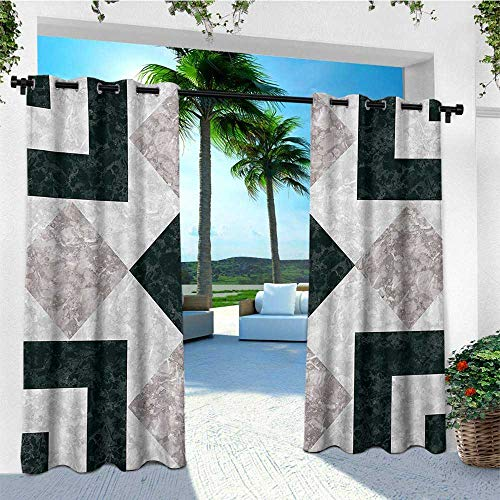 (leinuoyi Marble, Outdoor Curtain Kit, Nostalgic Marble Stone Mosaic Regular Design with Alluring Elements Artwork Print, Balcony Curtains W72 x L96 Inch Black Beige)