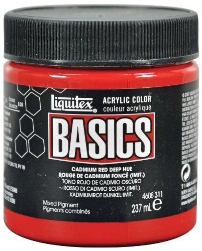 Liquitex Basics Acrylic Paint 8-oz jar, Cadmium Red Deep Hue ()