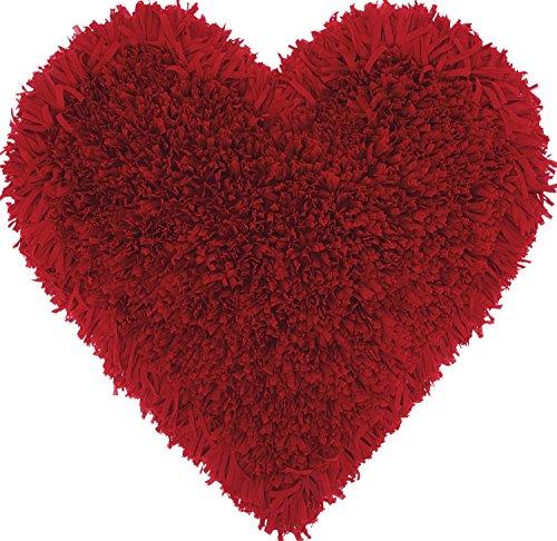Nourison Mina Victory TL001 Frame Heart Shag Throw Pillow, 18 x 18 , Deep Red