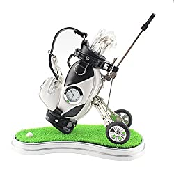 CRESTGOLF Mini Desktop Golf Bag Pen Holder with Green ,Clock and Golf Club Shape Pens (white-black)