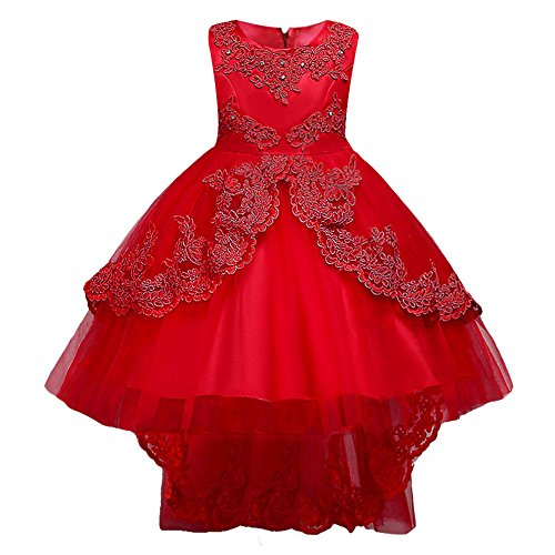 HUANQIUE Girls Pageant Party Dresses High Low Wedding Flower Girl Gowns Red 8-9 Years ()