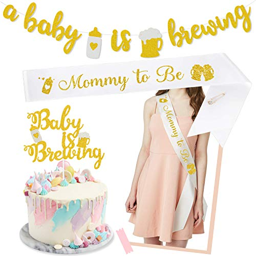 A Baby is Brewing Baby Shower Banner & Baby is Brewing Cake Topper & Mommy to Be for Gender Reveal Party Decoration Diaper Party Decor Pre-assembled Baby Brewing Theme Baby Shower or Baby Sprinkle Kit