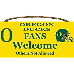 Oregon Ducks College University NCAA Team Logo Garage Home Office Room Wood Sign with Hanging Rope - FANS Welcome Others Not Allowed