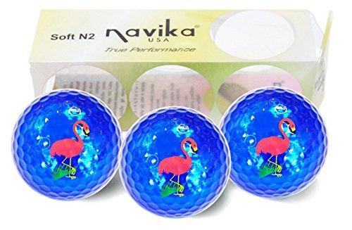 Navika Golf Balls- Flamingo Imprint on Teal Metallic Chrome High Visibility Color (3-Pack)