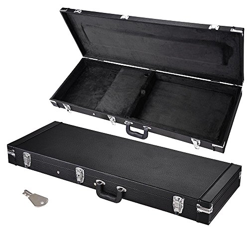 AW Universal Square Electric Guitar Hard Case Wooden Hard Shell Carrying Case with Lock Latch Key Black