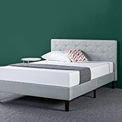 Transform your bedroom with this diamond stitched platform bed frame by Zinus. Classic styling and strong reliable wood slat support for your spring, memory foam, latex, or Hybrid mattress. Ships in one carton with the frame, legs, and wooden...