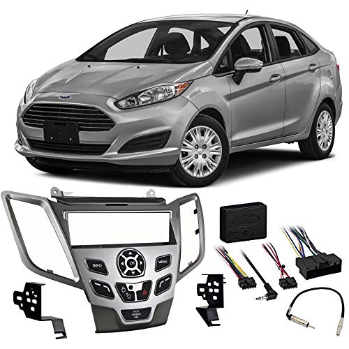 Ford Fiesta 2014-2015 Single DIN Stereo Harness Radio Install Dash Kit Silver by Harmony Audio (Image #5)