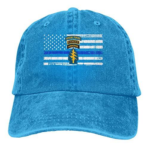 Vbfgtg Sombreros Vaqueros Lavados con diseño de Las Fuerzas Especiales del ejército Estadounidense Ranger Airborne Capdad,...