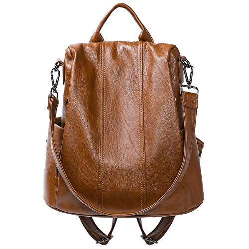 Women Backpack Fashion Leather Backpack Purse Anti-theft Backpack Ladies Bags (Brown) (Leather Backpack Purse)
