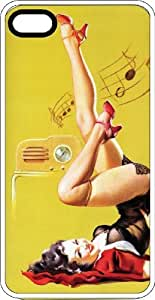 Upside Down Musical Pin Up Girl White Plastic Case for Apple iPhone 5 or iPhone 5s