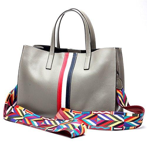 Borse Donna Simple Tote Messenger Soft Fashion Leather tracolla Grigio Ghc e dfwTxdP