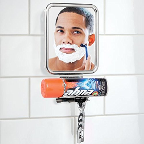 mDesign Shower Shaving Suction Mirror with Shaving Cream and Razor Holder for Bathroom - Polished Stainless Steel