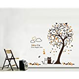 FunnyCraft 1 Set Love Cat Cartoon Tree Wall Sticker Vinyl Removable Art Mural Wall Decals For Home Decoration... deal 2017