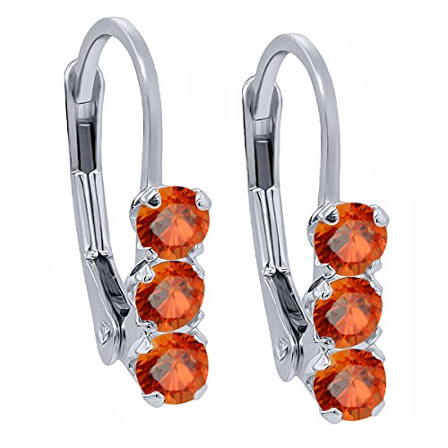 0.78 Ct Round Orange Sapphire 925 Sterling Silver 3-Stone Earrings