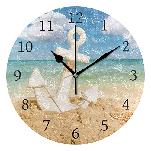 AHOMY Round Wall Clock Anchor Starfish Beach Seawave Sunshine White Cloud and Blue Sky Home Art Decor Non-Ticking Numeral Clock for Home Office ()