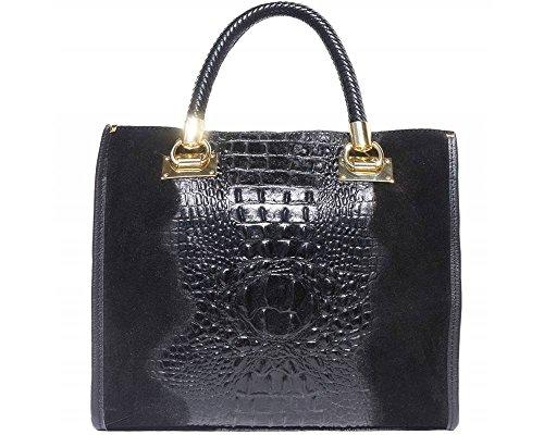 Crocodile Women Skin Leather Office Embossed Tote Black Genuine Handbag Patent Italian ZwpxddqU4