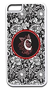 C-Black and White Floral Monogram Hard Plastic Case in White- for the Apple Iphone 6 ONLY