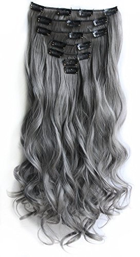 SWACC Women 20 Inches Curly Full Head 7 Separate Pieces Heat Resistance Synthetic Hair Clip in Hair Extensions (Grey) (Grey Hair Extensions)