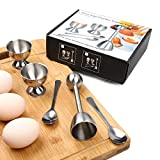 Soft Hard Boiled Egg Cutter Topper Set Egg Cracker with Include 2 Cups 2 Spoons 1 Topper Cutter Shell Separator Remover Stainless Steel Kitchen Tool