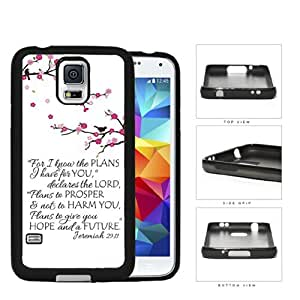 Jeremiah 29:11 Bible Quote with Pink Cherry Blossom Branch Hard Rubber Cell Phone Case Cover Samsung Galaxy S5 I9600