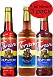 Torani Syrup Fruit Flavors 3 Pack, Raspberry, Strawberry and Peach