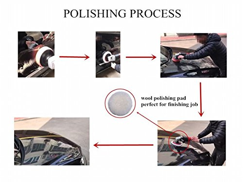 5 Gracefur Lambs Wool Polishing Buffing Pad Hook and Loop Soft Cutting Pad 3//4//5//6//7 Available Polisher for Auto Car