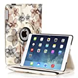 (US) TNP Apple iPad 2/3/4 Case (Flower Black)- 360 Degree Rotating Stand Cover PU Leather For iPad 4th Generation with Retina Display, the New iPad 3 & iPad 2 with Auto Sleep Wake Feature & Stylus Holder