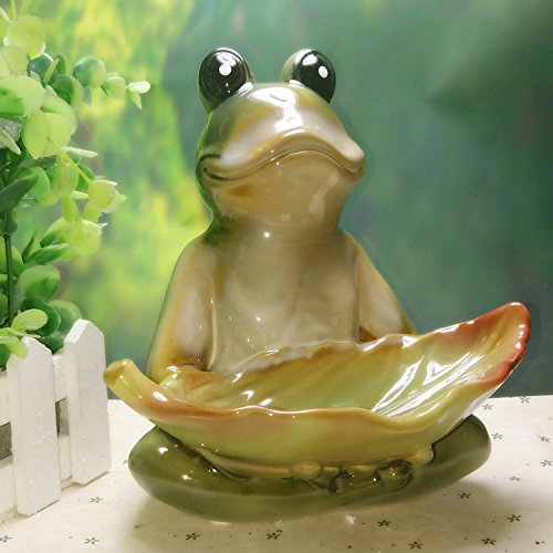 DHWM-Creative Ceramic Fruit Plate, The Frog Fruit Plate, Stylish Ceramic Fruit Plate, Unique Snack Tray Birdfeeder (Candy Dish Frog)