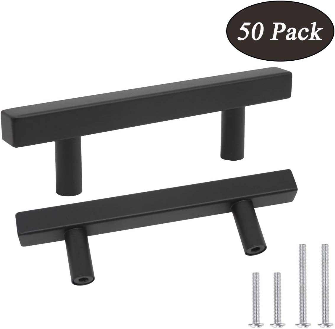 Probrico Cabinet Handles-Pack of 50 Black 3inch (76mm) Hole Centers Square T Bar Kitchen Cabinet Handles Drawer Pulls for Kitchen Furniture Hardware
