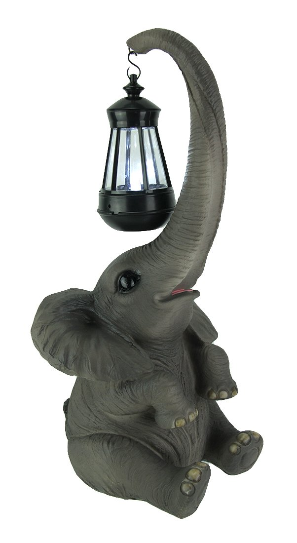 Things2Die4 Resin Statues Baby Elephant Holding Lantern With Trunk Solar Light Statue 7.5 X 16.5 X 7.25 Inches Gray